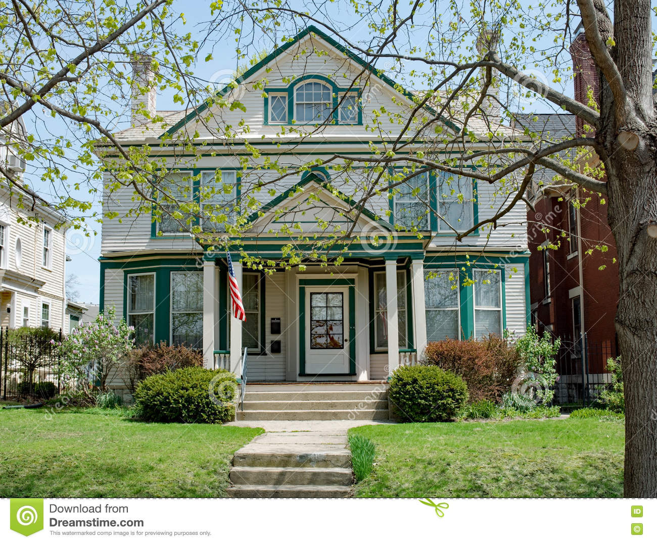 Large old urban house in midwest stock photo image 70561891 for Green house white trim