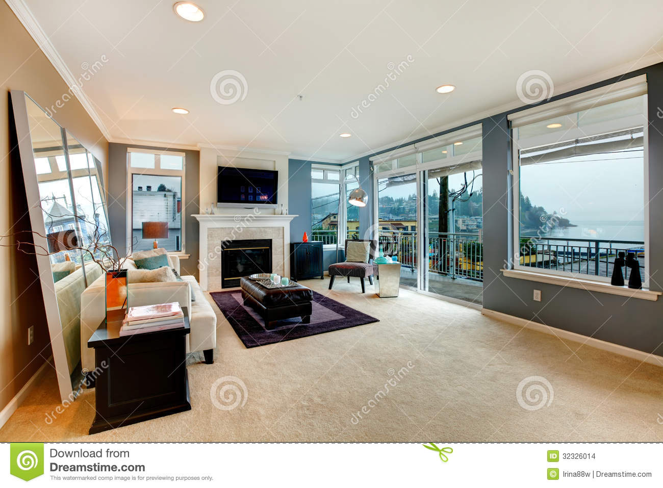 Stock Images Large Open Bight Living Room Fireplace Tv Modern
