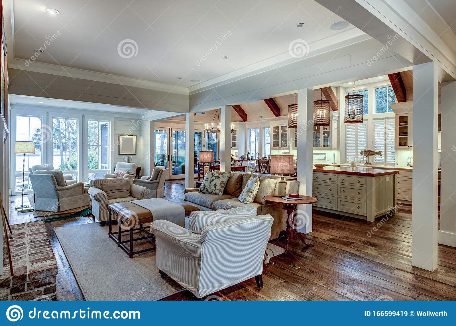 Large Open Concept Home Interior with Living Room, Kitchen, and ...