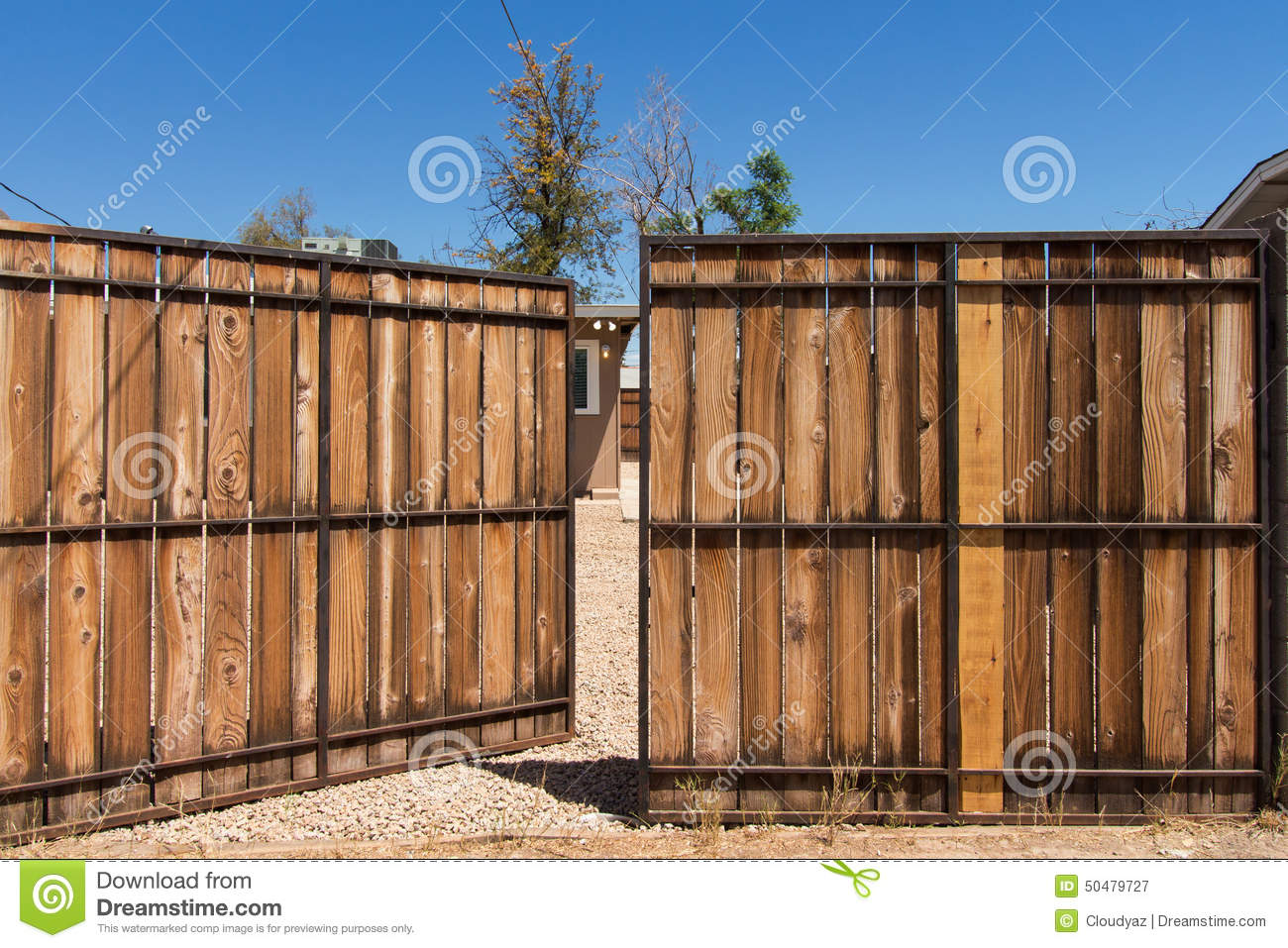 Large open gate stock photo image 50479727 for How to build a driveway gate