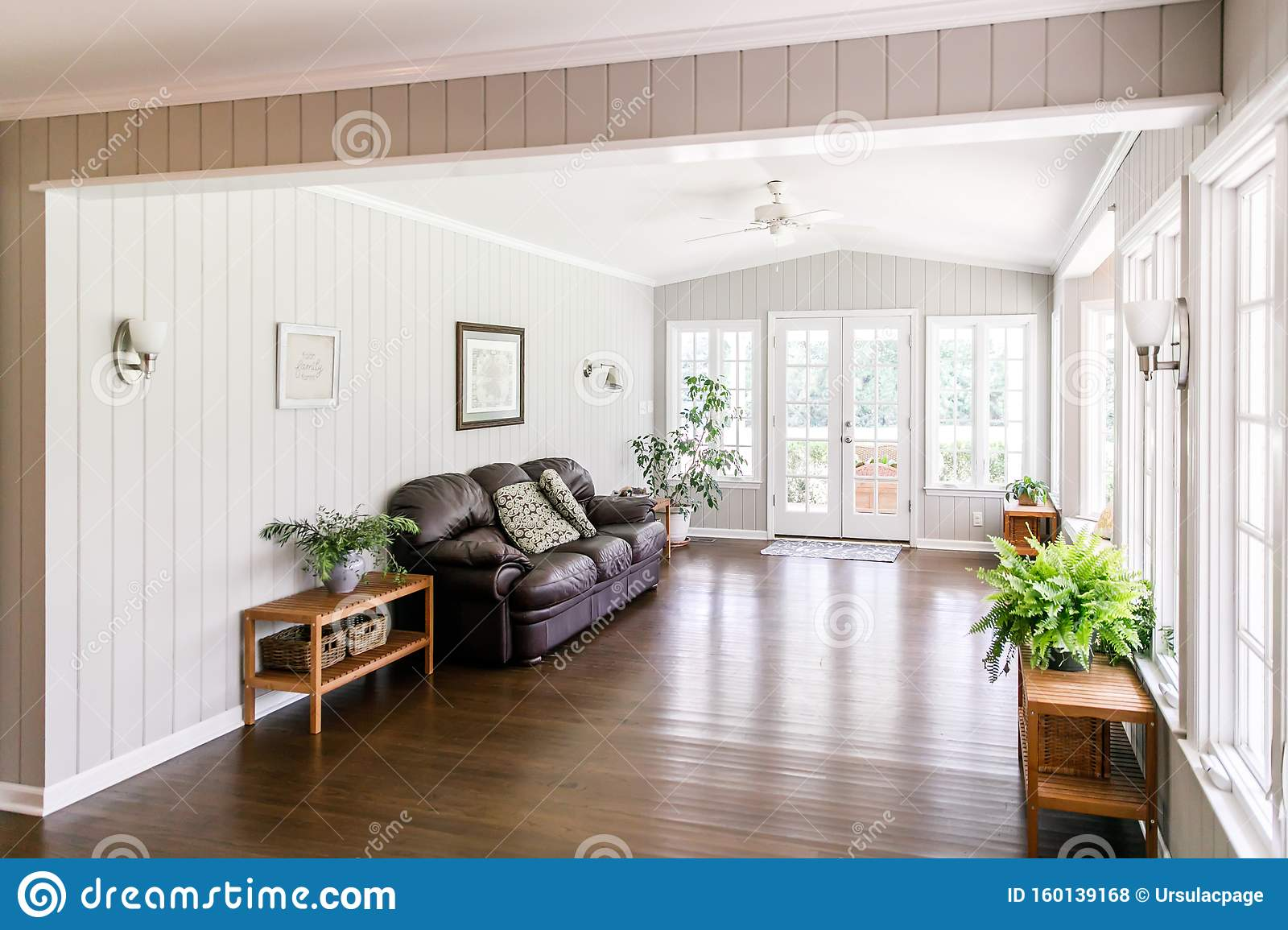 Large And Open Living Room Den Sun Room Stock Photo Image Of 1950 Couch 160139168