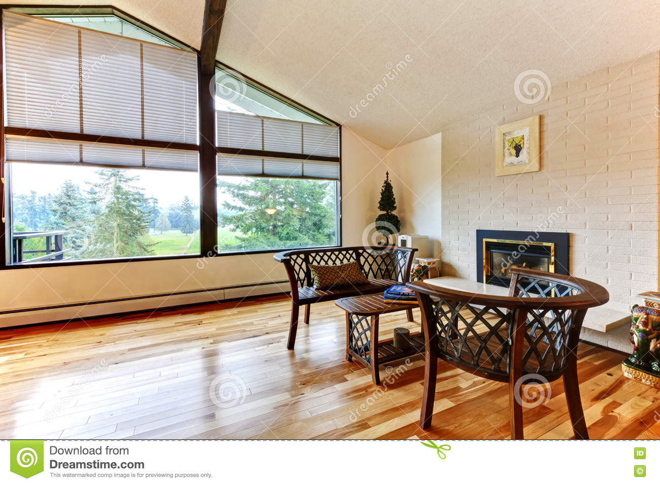 Large Open Living Room With White Brick Fireplace And Hardwood F Stock Photo Image Of Chairs Decoration 72883200