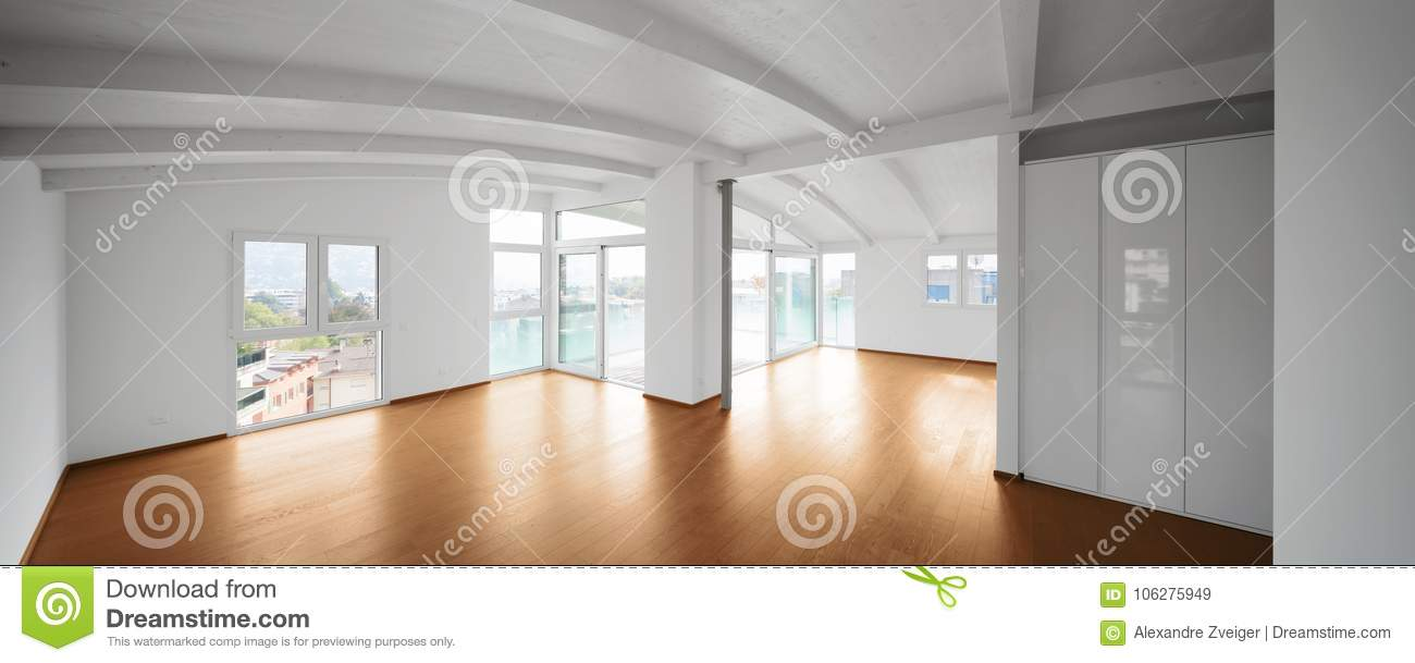 Modern Attic, Empty Living Room