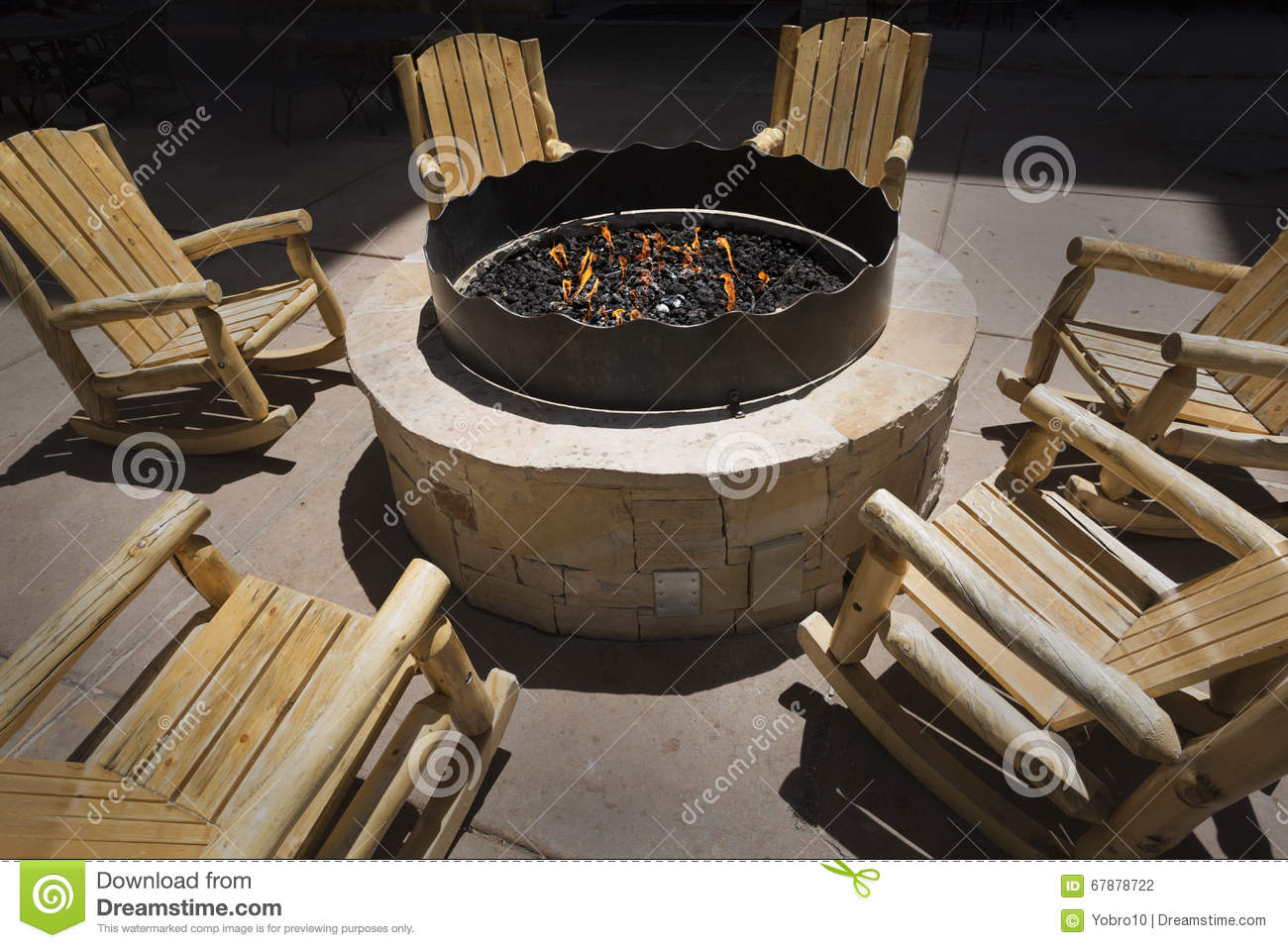 Admirable Large Outdoor Fire Pit Surrounded By Wooden Rocking Chairs Bralicious Painted Fabric Chair Ideas Braliciousco
