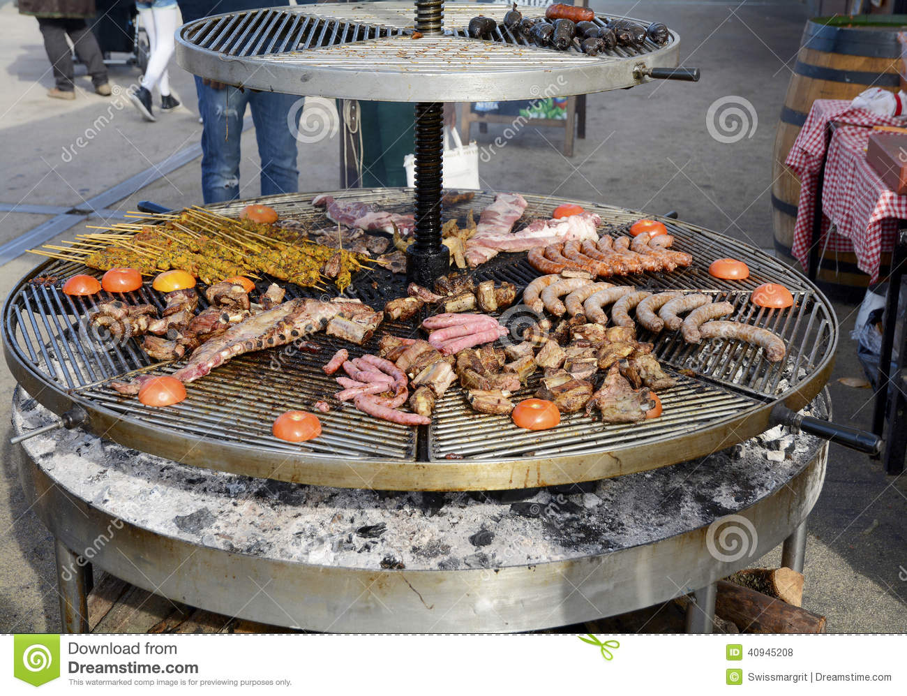 Large Outdoor Grill With A Variety Of Meat Stock Photo