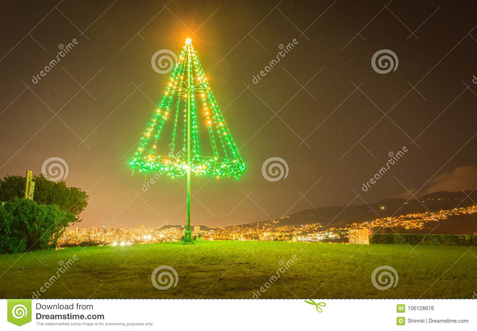 download large outdoor metal illuminated christmas tree stock photo image of orange december - Outdoor Metal Christmas Trees