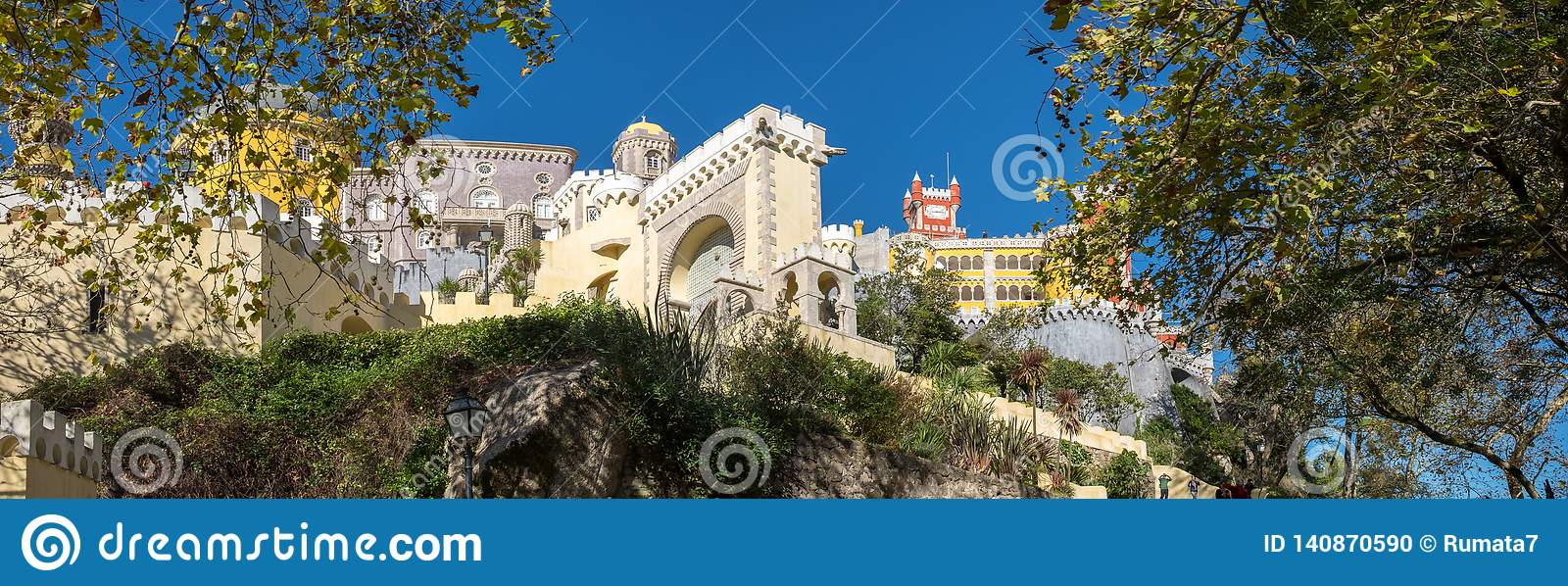 Large panoramic view of Pena Palace Portuguese: Palacio da Pena is a Romanticist castle in the municipality of Sintra