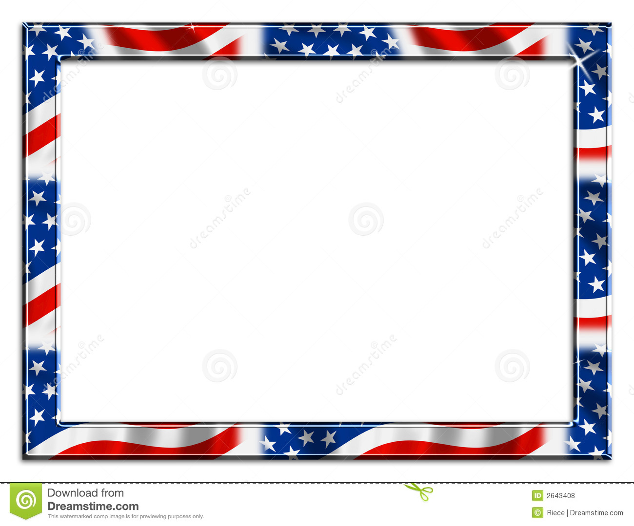 Patriotic red white and blue border beveled frame on white background.