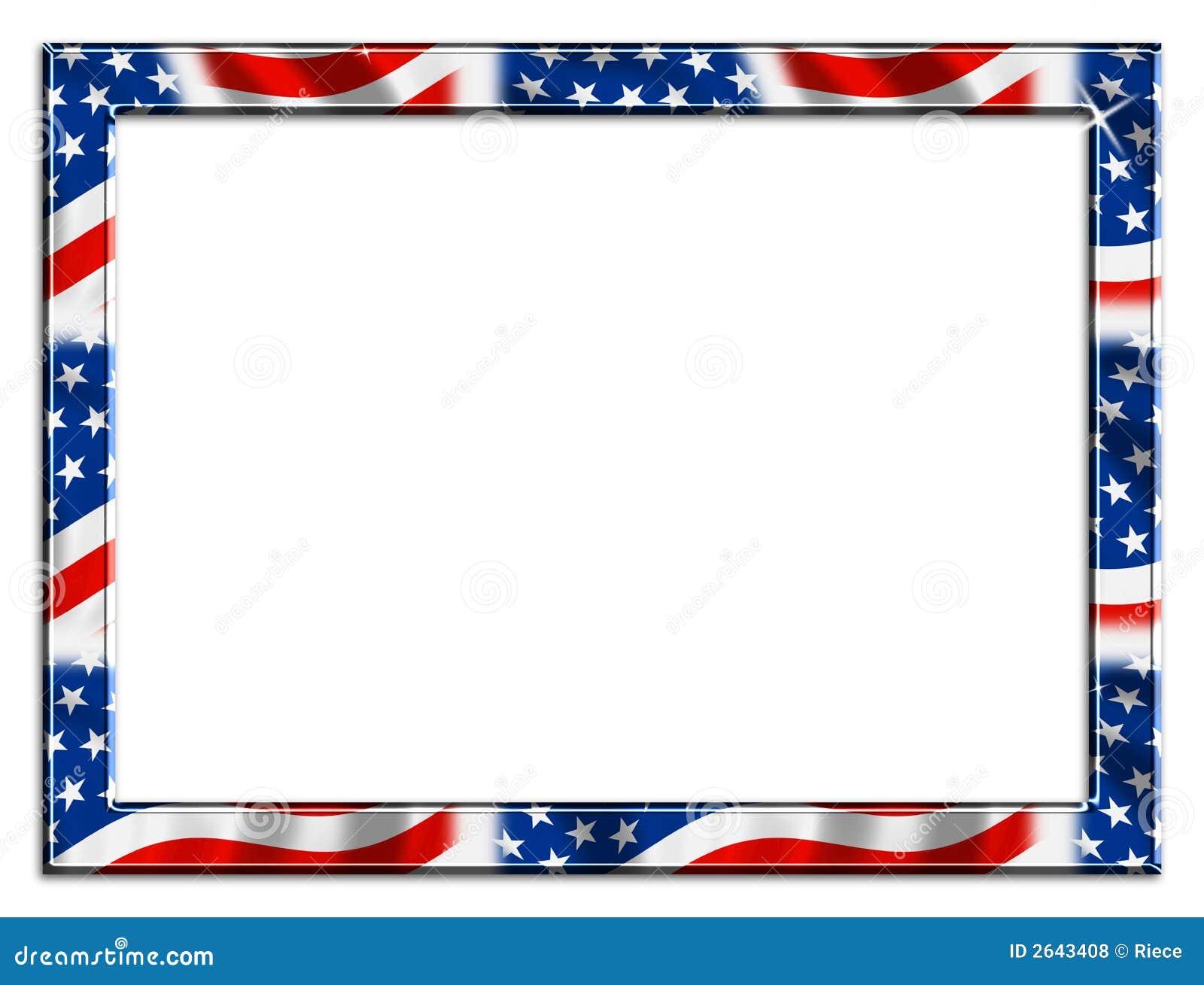 Patriotic red white and blue border beveled frame on white background.