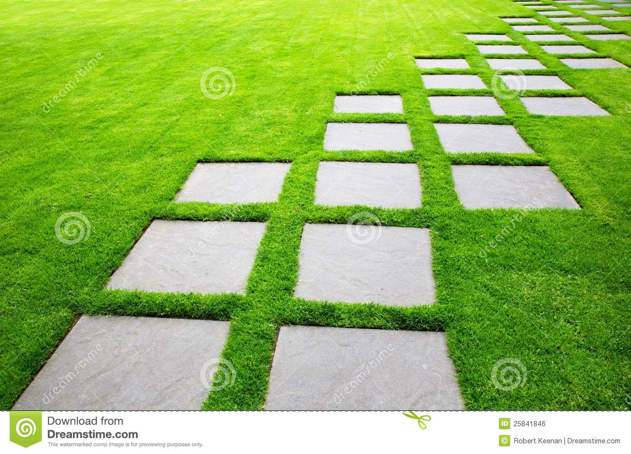 Large Pavers On Diagonal Stock Photo Image Of Grass