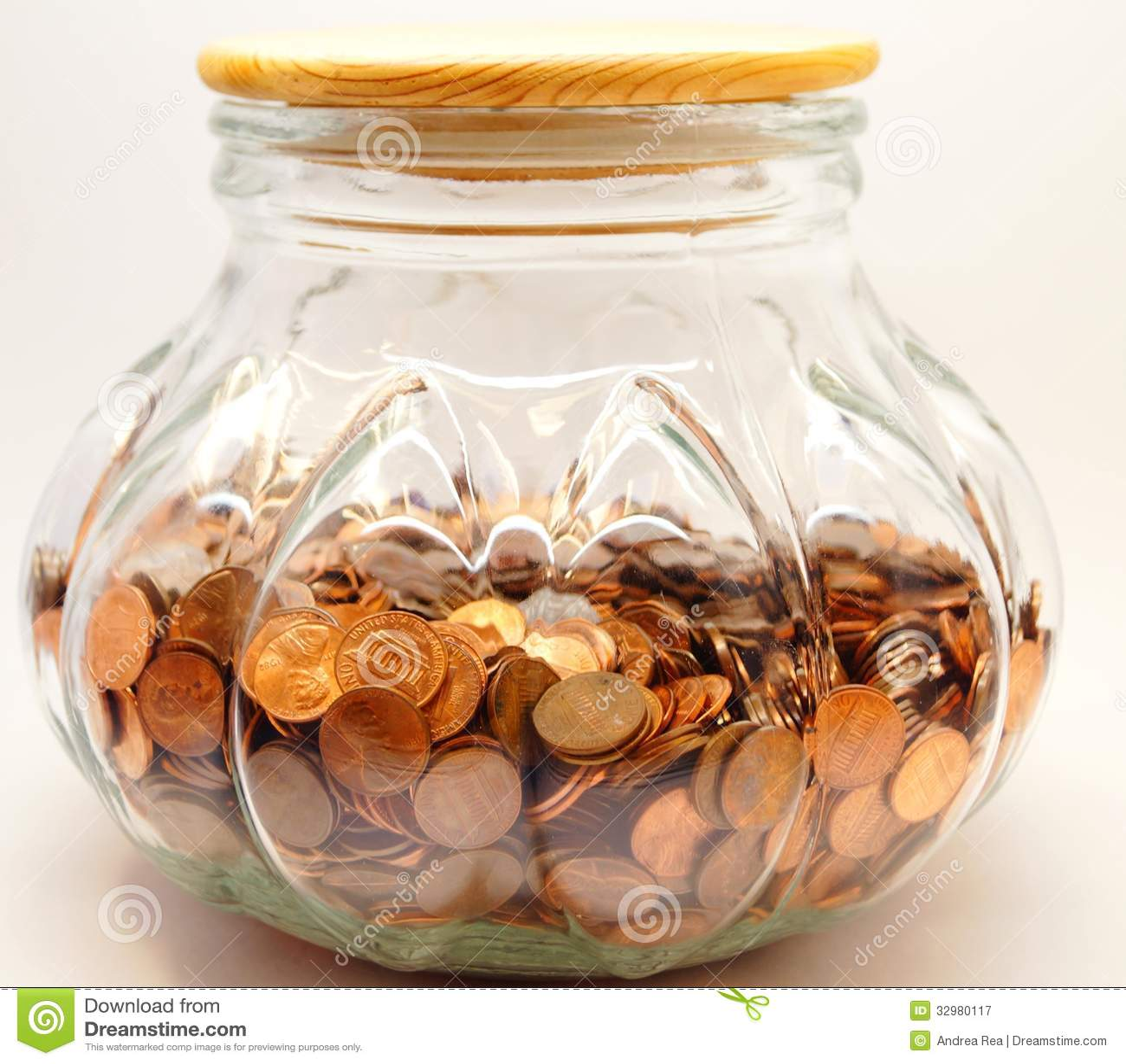 Big Penny Jar Savings Fund Stock Image Image Of Education