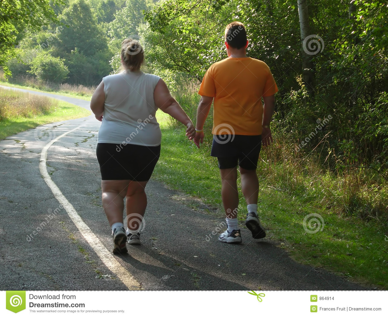 Large people walking on trail