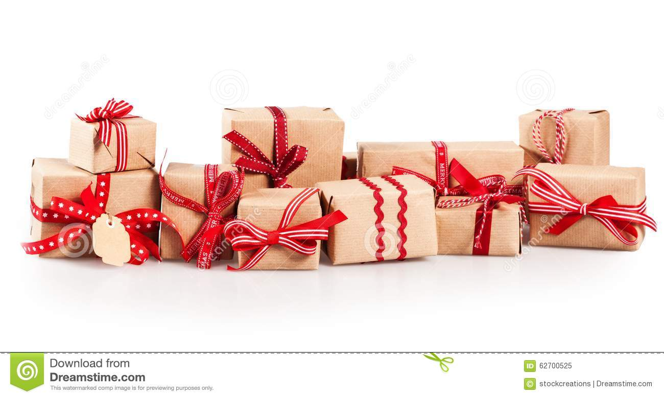 Large Pile Of Christmas Gifts With Red Bows Stock Image ...