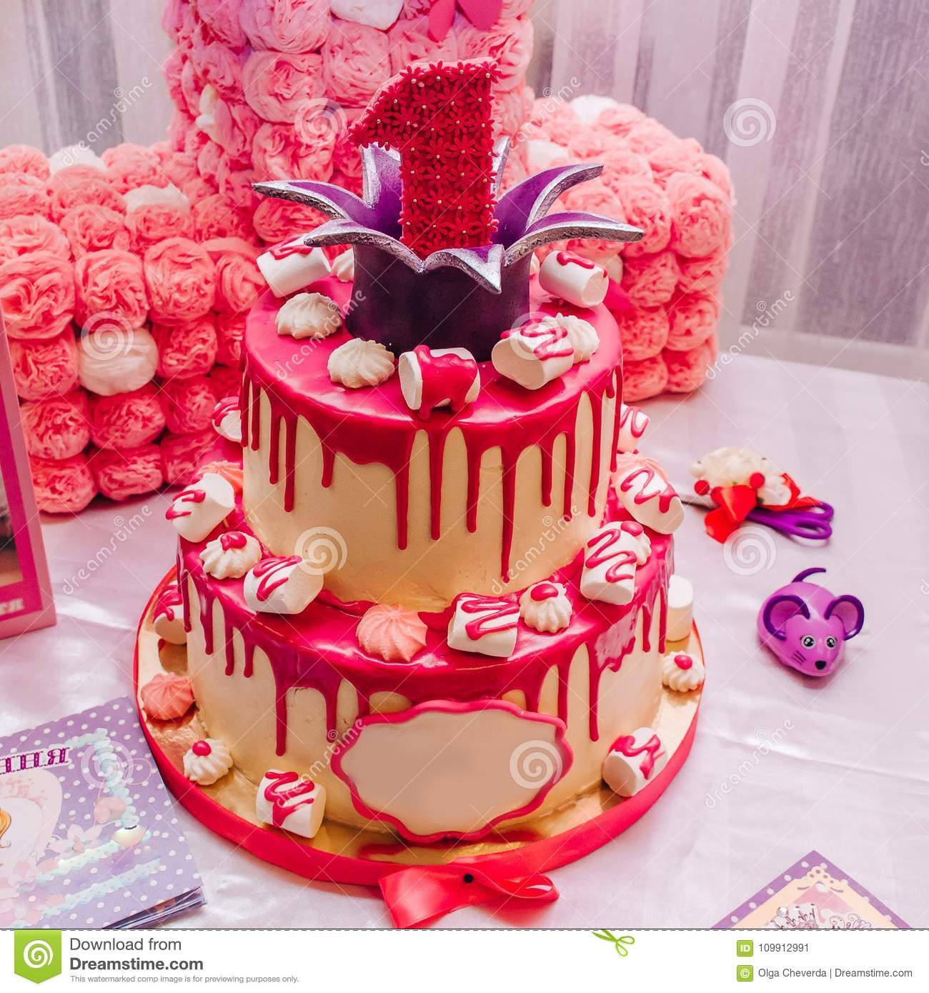 Enjoyable Large Pink Two Tiered Cake With A Unit On Top For A Children S Funny Birthday Cards Online Sheoxdamsfinfo