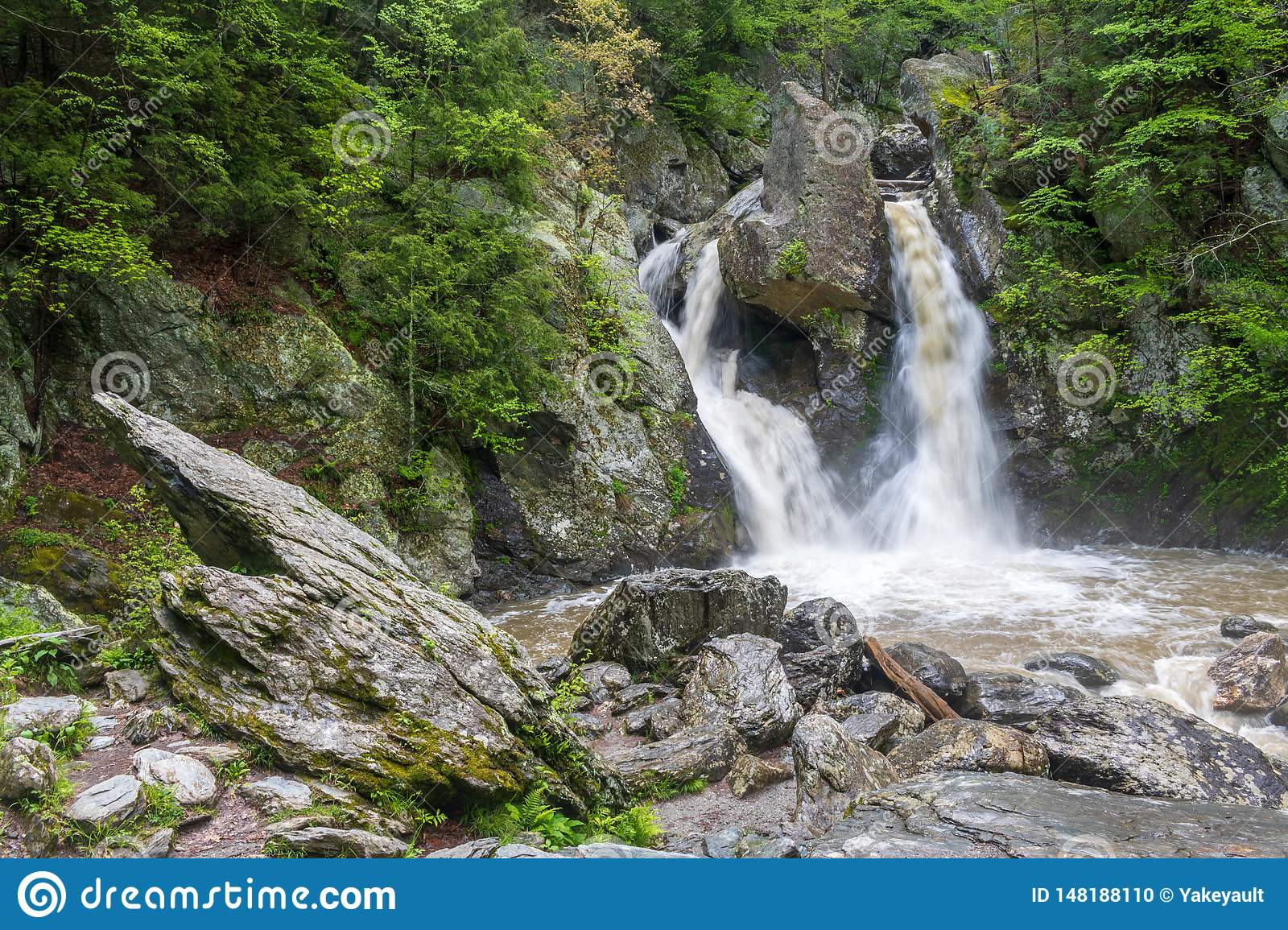 Bash Bish Falls with a large pointed rock