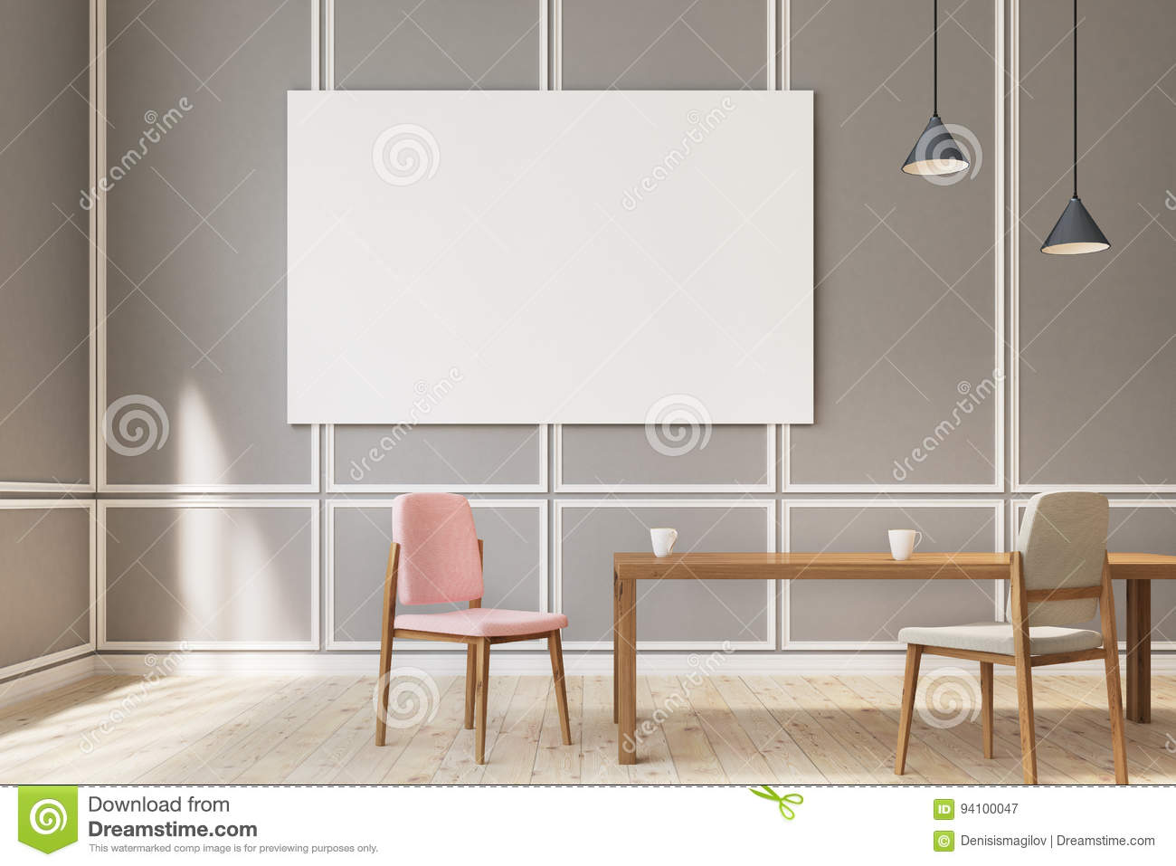 Large Poster Dining Room, Chairs Stock Illustration - Illustration ...