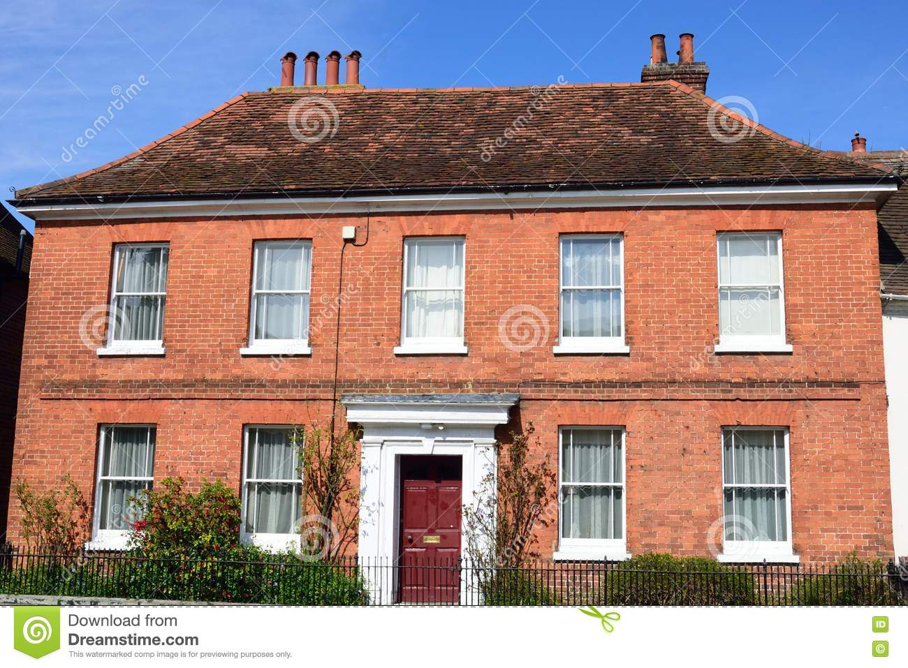 Large red brick georgian house stock image image 70440613 for Brick georgian homes