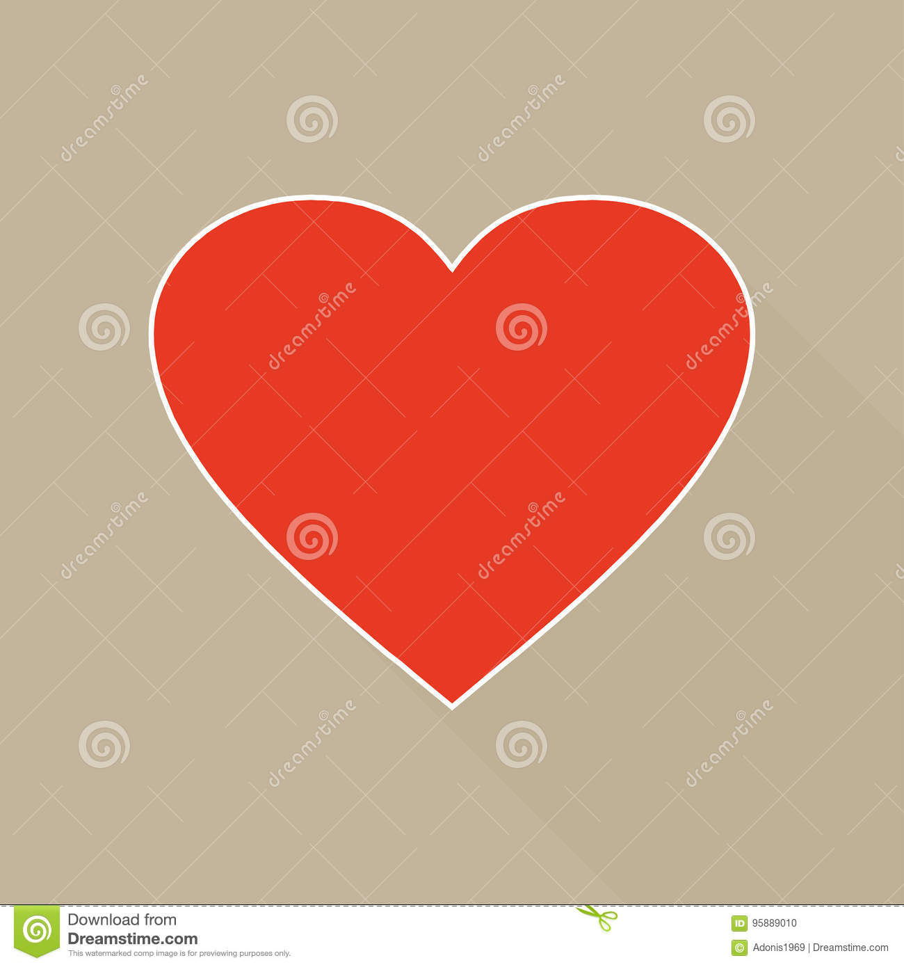Large Red Heart Shape In Beige Background Stock Vector