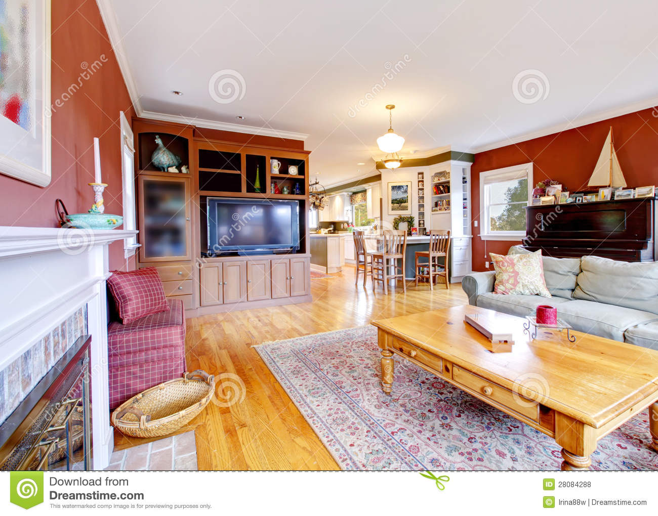 Large Red Living Room TV And Fireplace Royalty Free Stock Photos