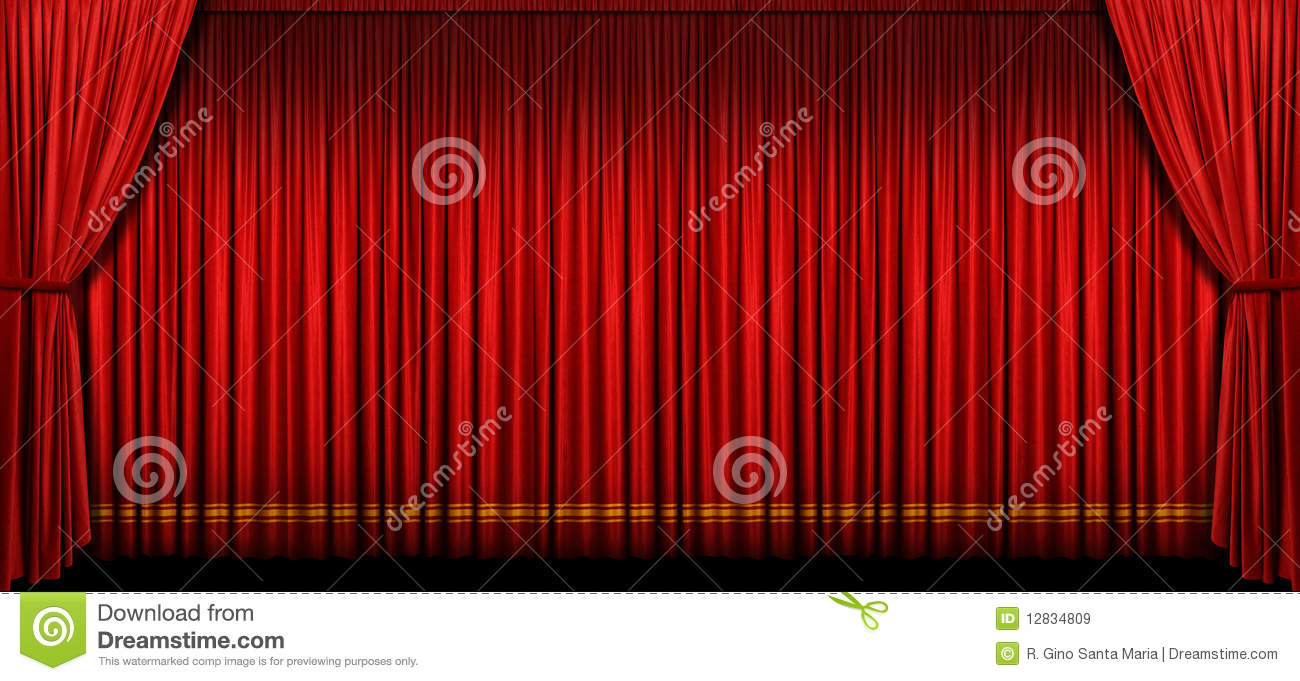 Opening and closing red curtain stock animation royalty free stock - Curtain Red Stage