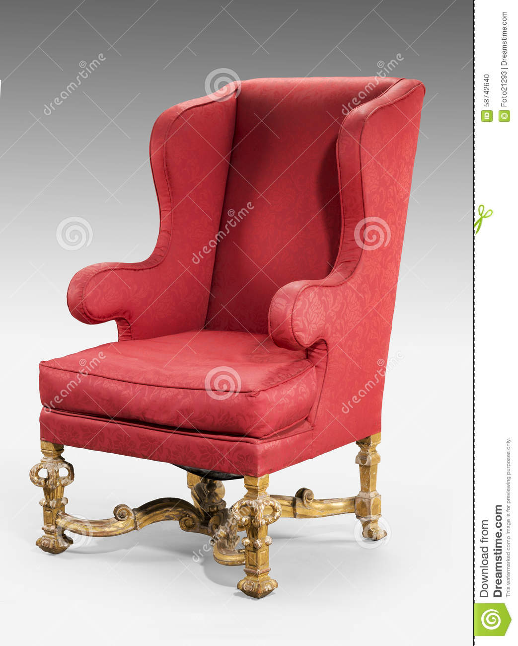 Antique birthing chair - Large Red Wing Chair Upholstered In Red Old Antique In Need Of R Stock Photo
