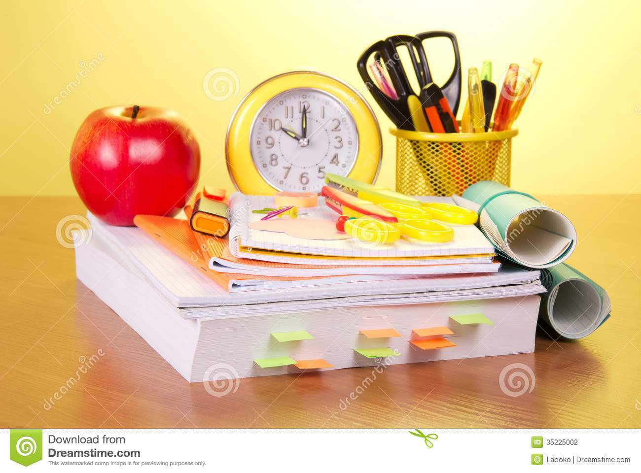 Book Cover School Supplies : Large reference book and school supplies stock photography