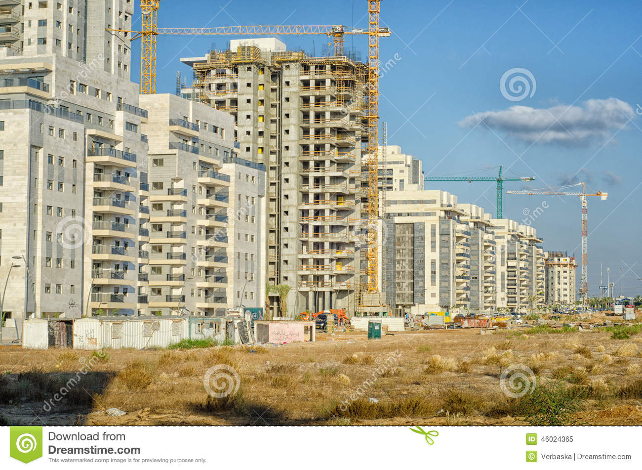 Large Residential Apartment Building Area Under Construction