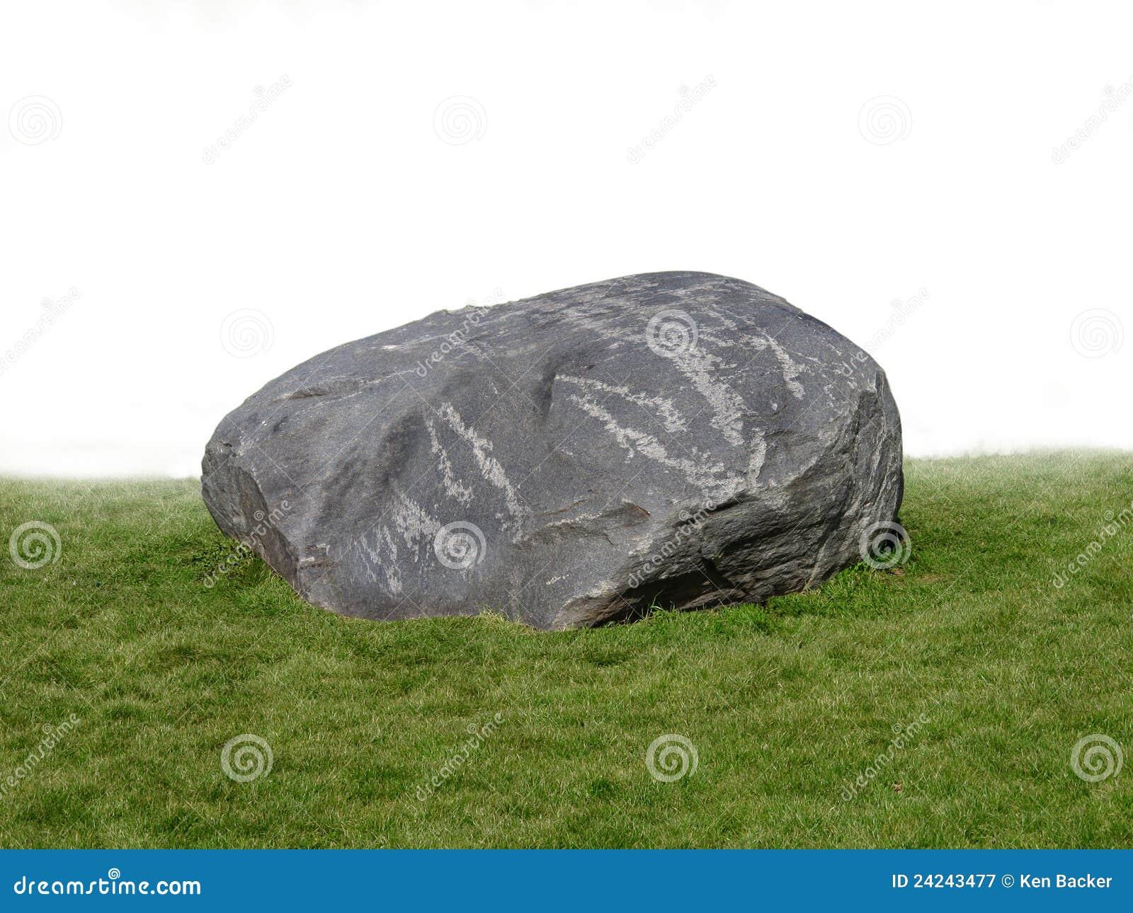 Large Rock Boulder On Grass Stock Image Image 24243477