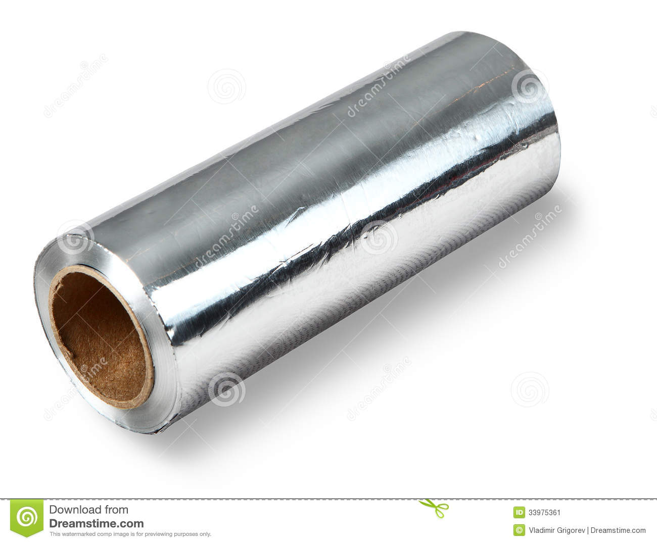 Large roll of aluminum foil food isolated on white for Aluminum cuisine
