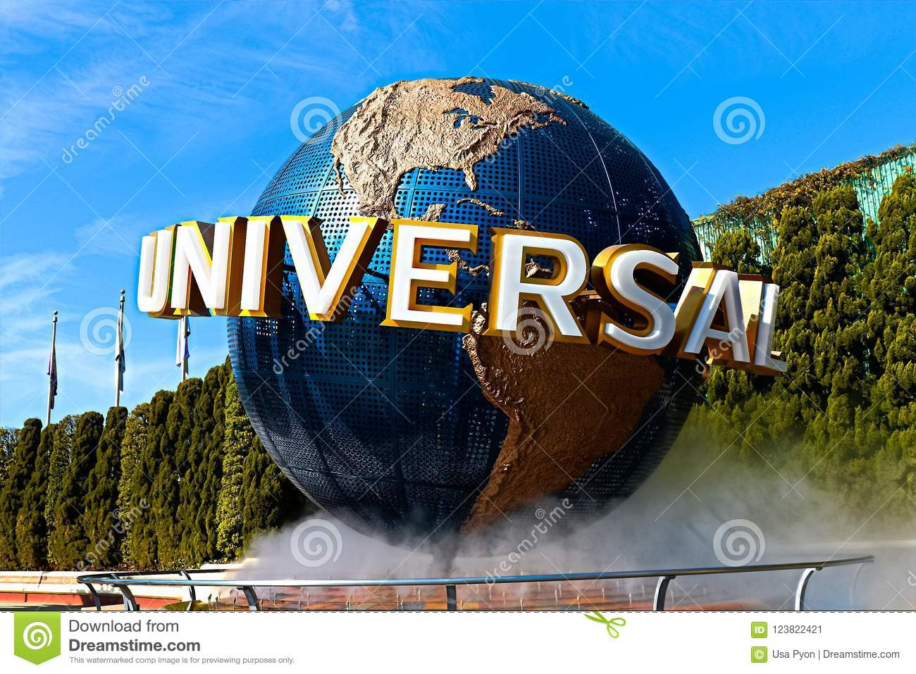 The Large Rotating Universal Logo Globe  Editorial Photo