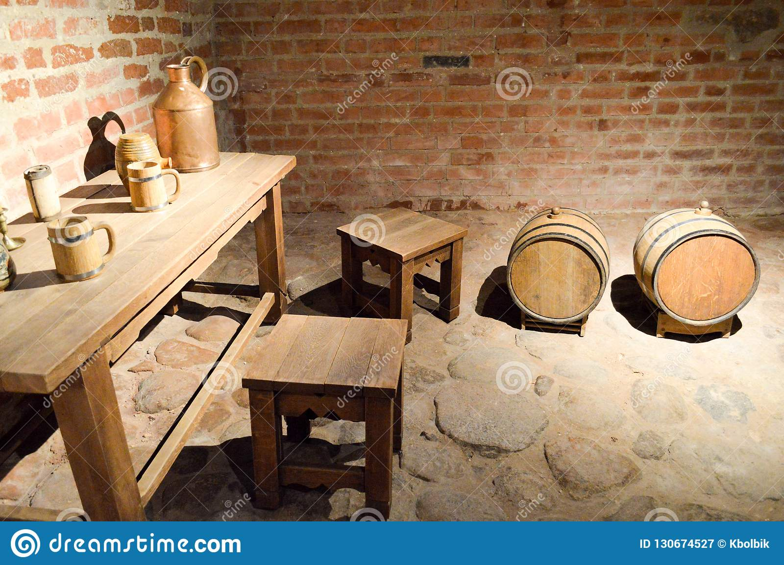Large Round Wooden Barrels For Beer Wine In The Old Cellar Of The