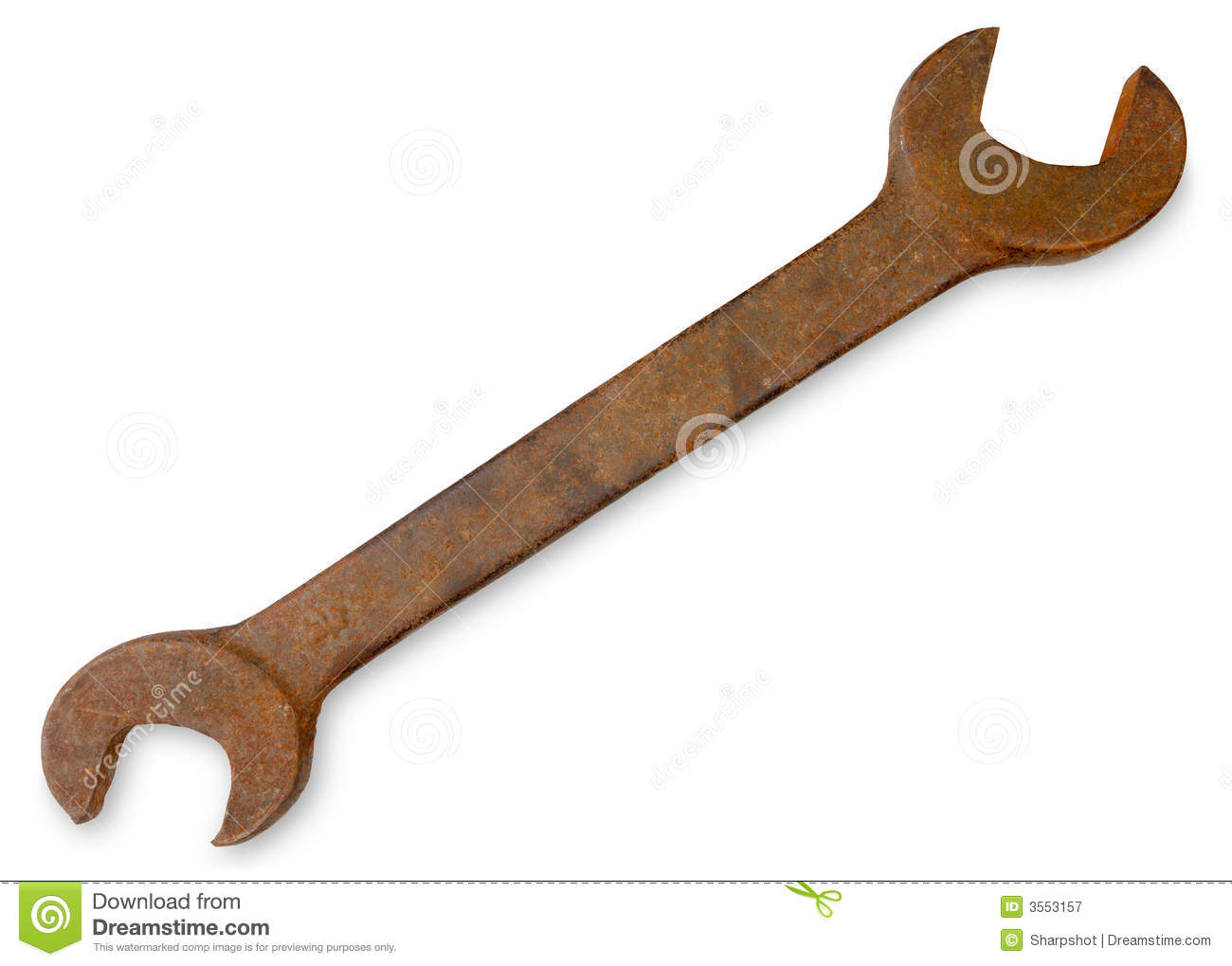 Large rusty spanner.