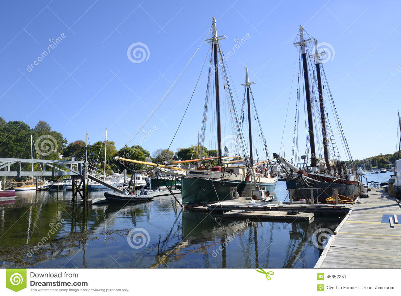Large sailboats in the camden harbor in maine stock image for The camden