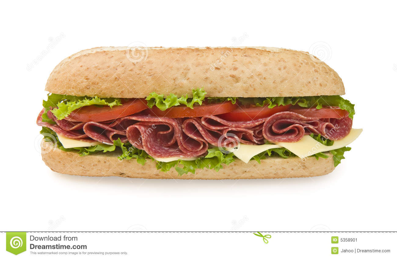 Fresh whole wheat salami sandwich with lettuce, cheese and tomatoes ...
