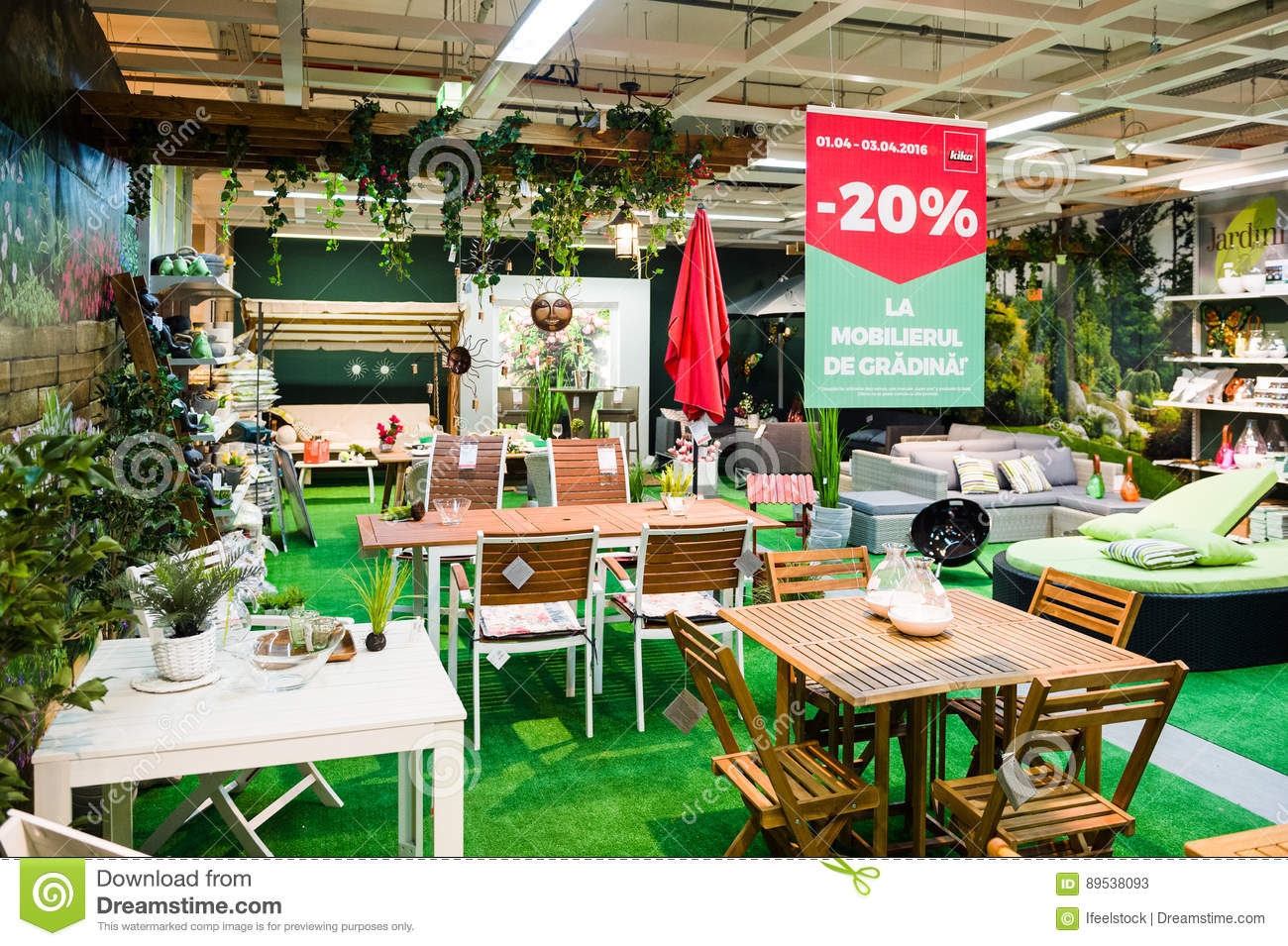 Large Selection Of Garden Furniture At Retail Shop Editorial Stock