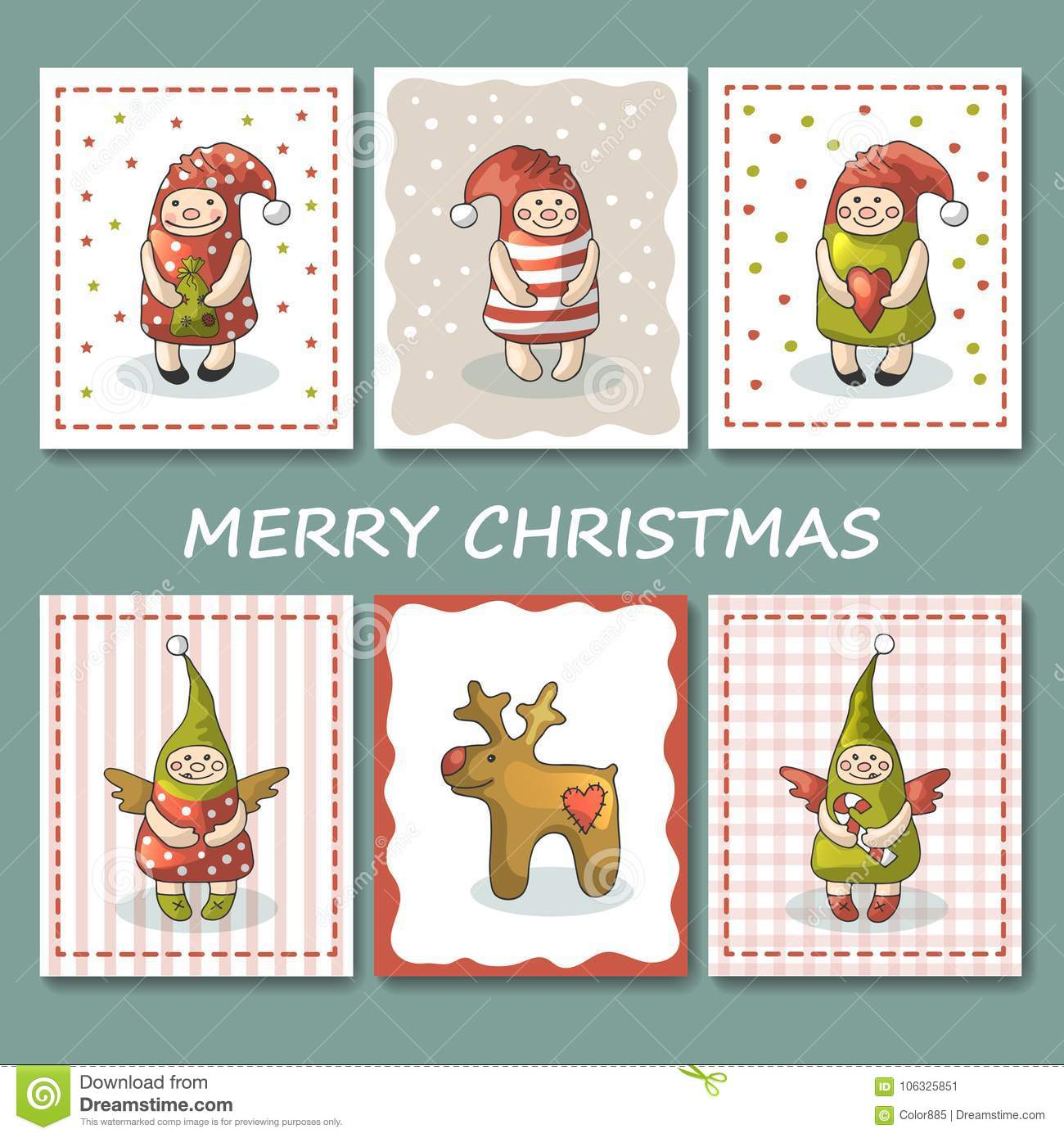 A Large Set Of Christmas Cards With Gnomes. Illustration Stock ...