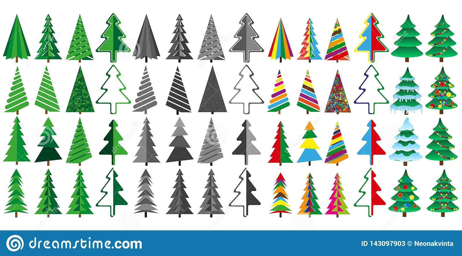 Large set of Christmas trees in color and gray.