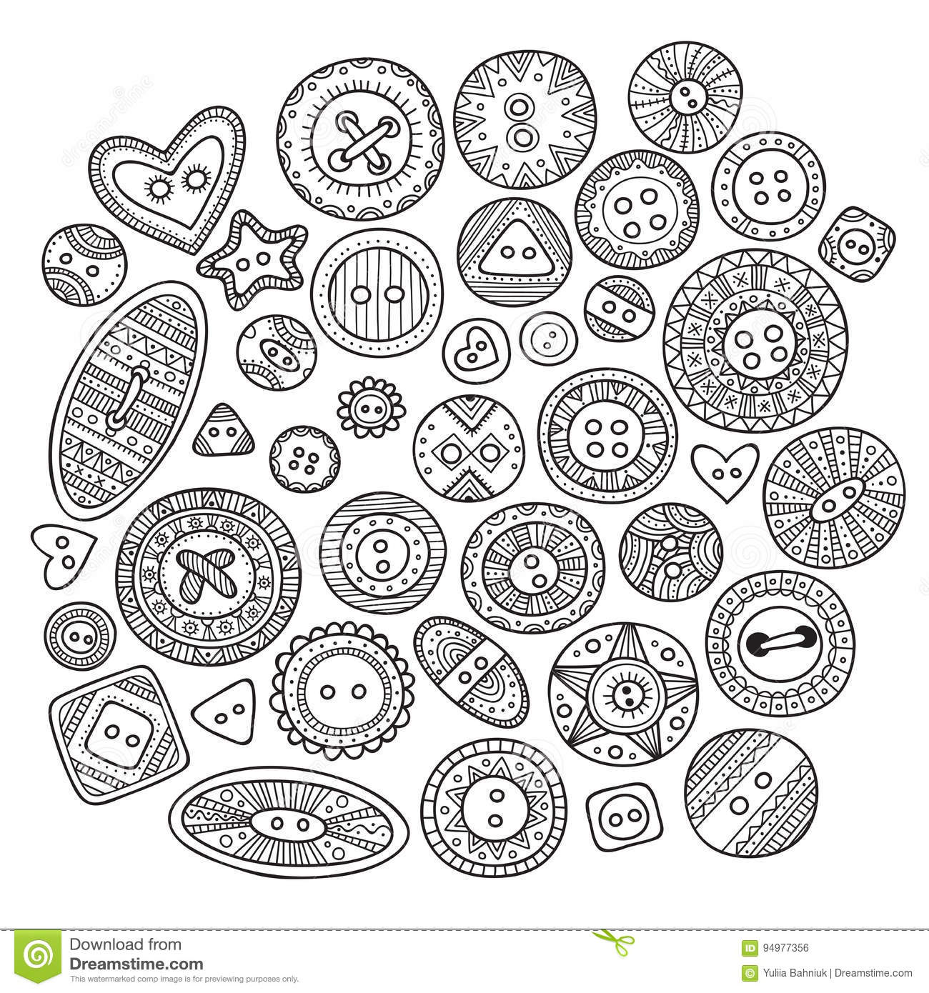 A Large Set Of Cloth Buttons In Different Boho Style Designs Wit ...