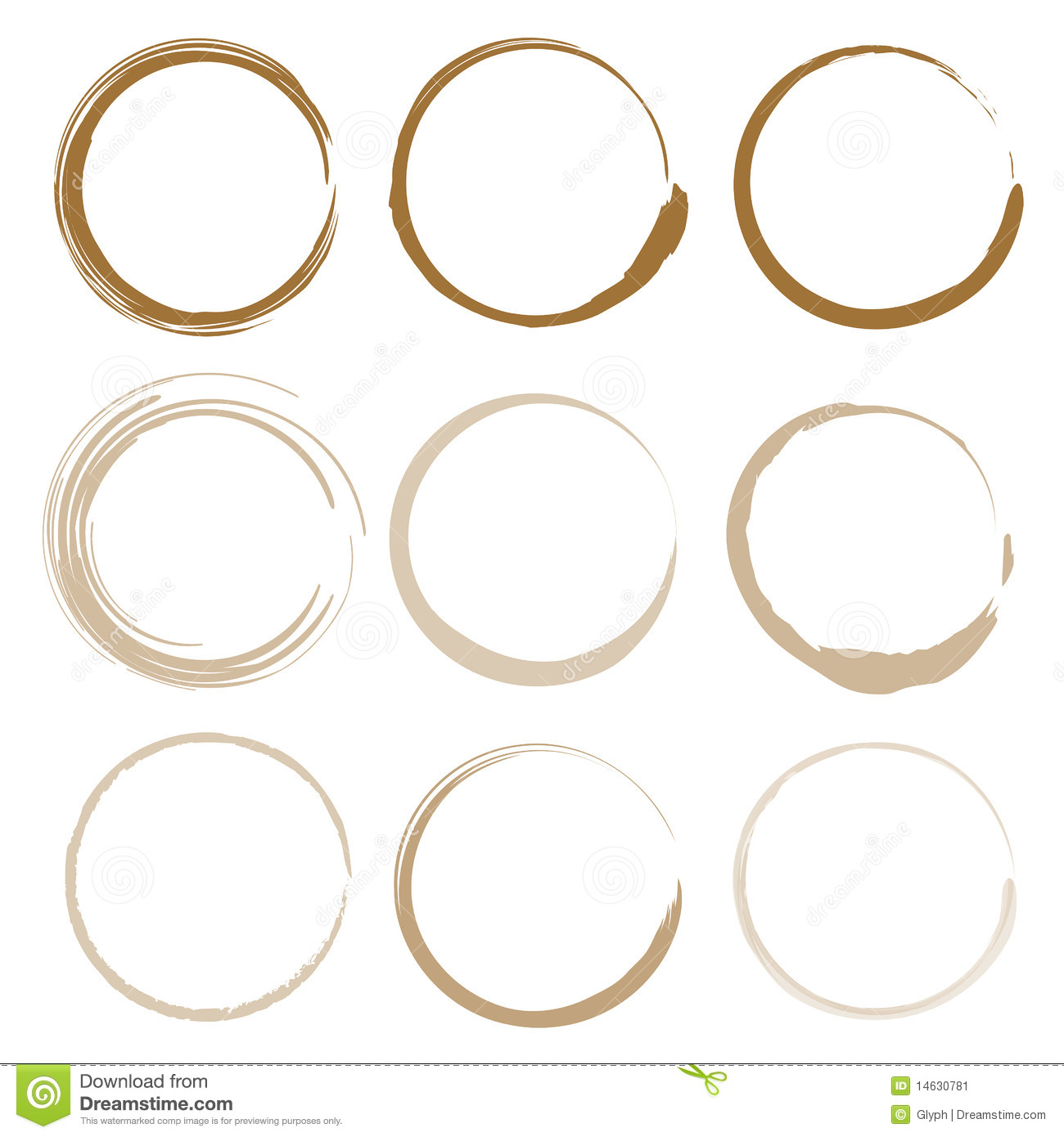 Large set of coffee stains stock vector. Image of mark ...