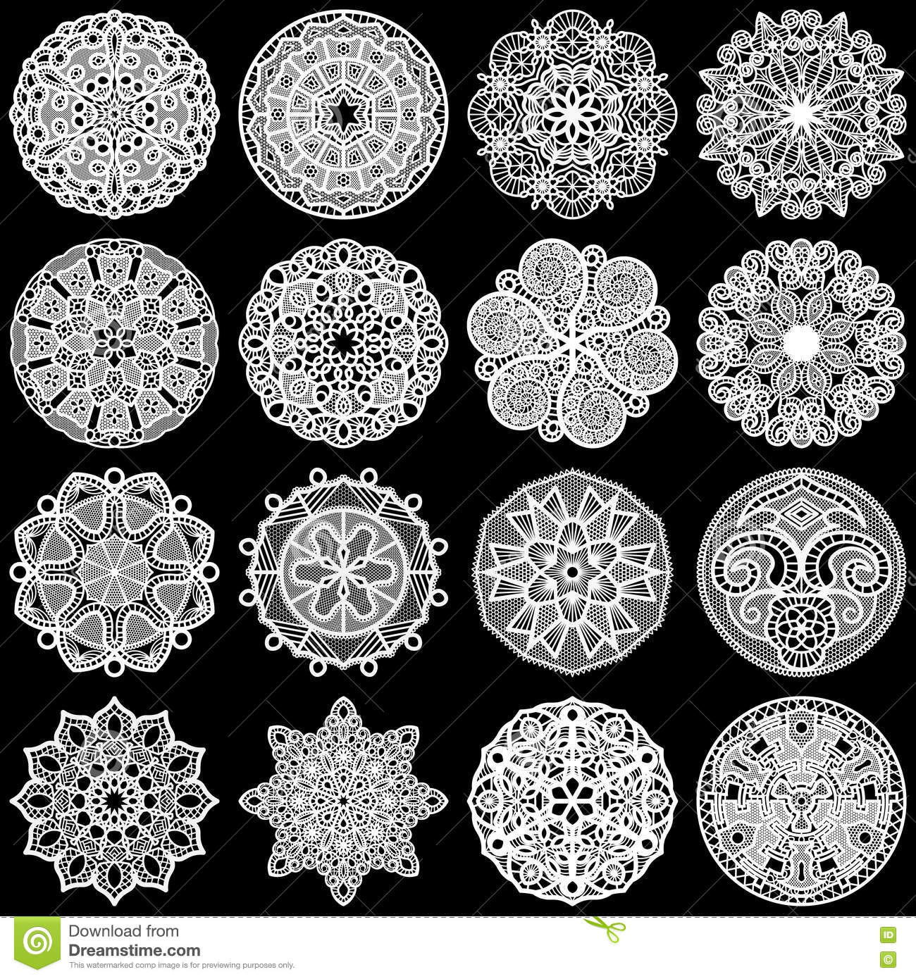 Large Set Of Design Elements, Lace Round Paper Doily, Doily To ...