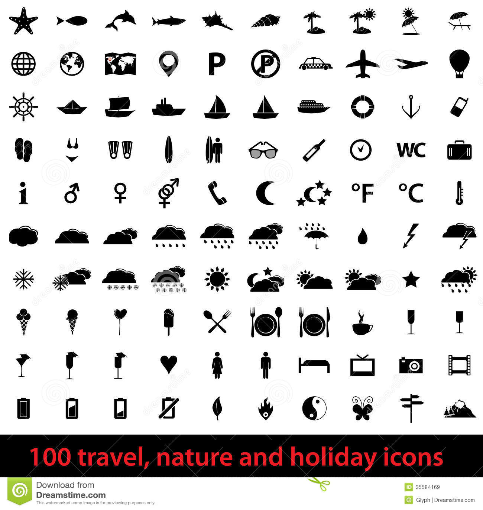 Large Set Of Holiday Icons Royalty Free Stock Images - Image: 35584169