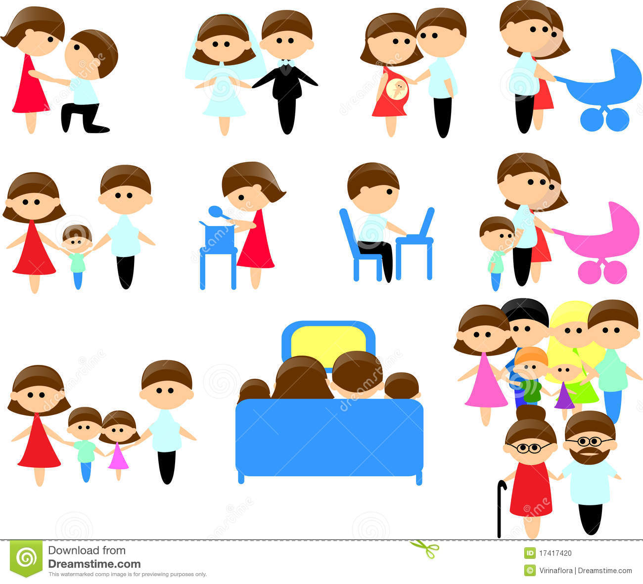 Large Set Of Icons Of Family Members Stock Photo - Image: 17417420