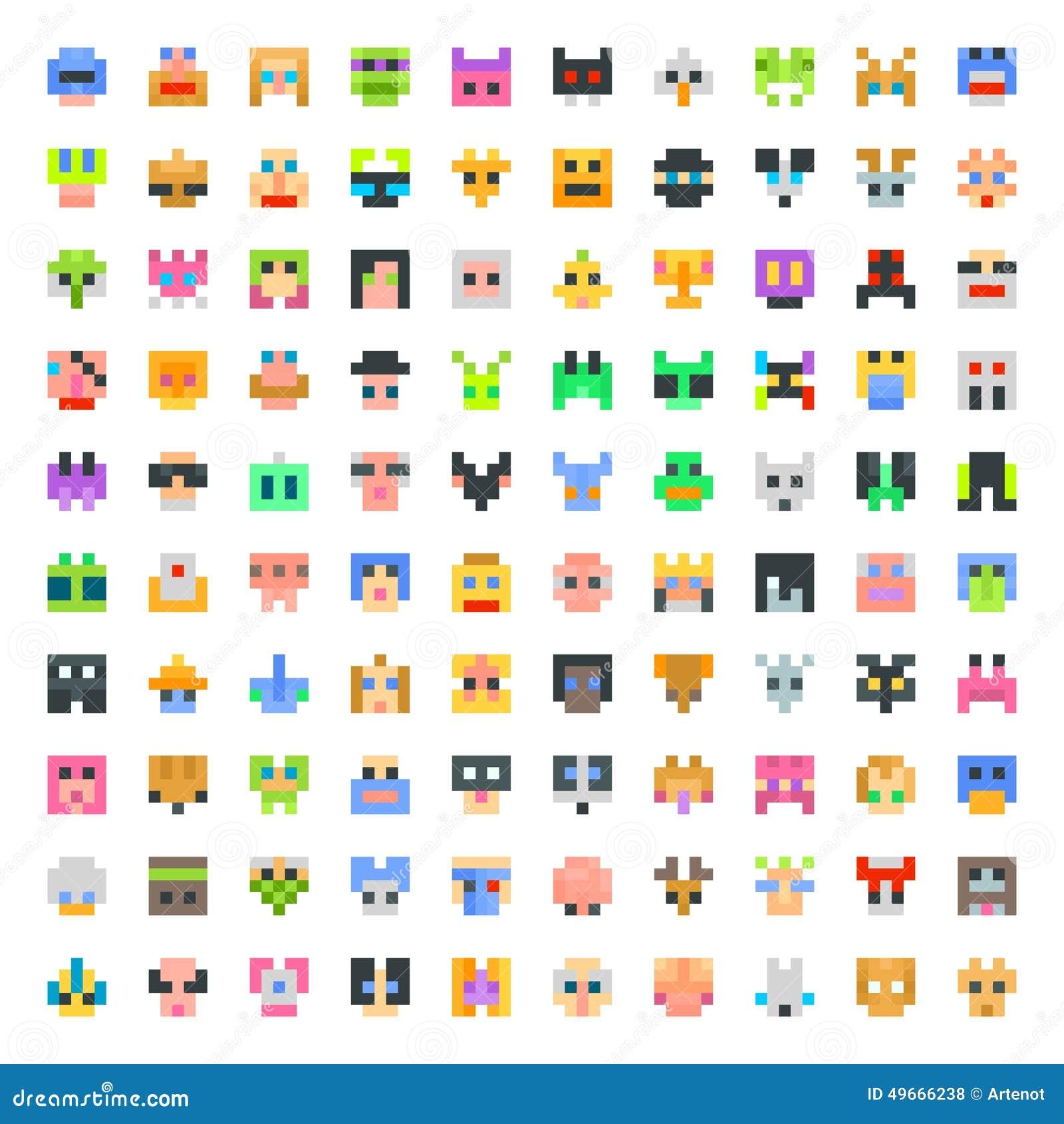 Large Set Of Pixel Faces Stock Illustration. Illustration