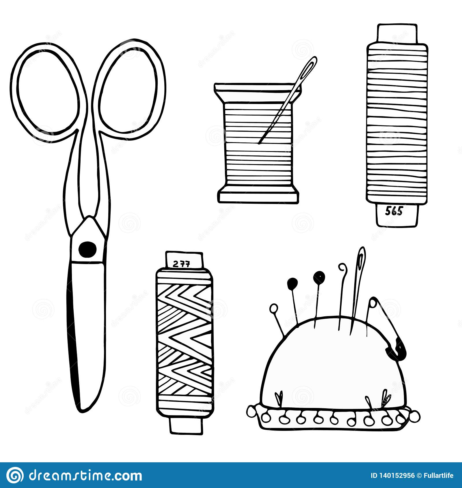 Large set of sewing supplies made of cissors, threads, needles, needle cases, buttons