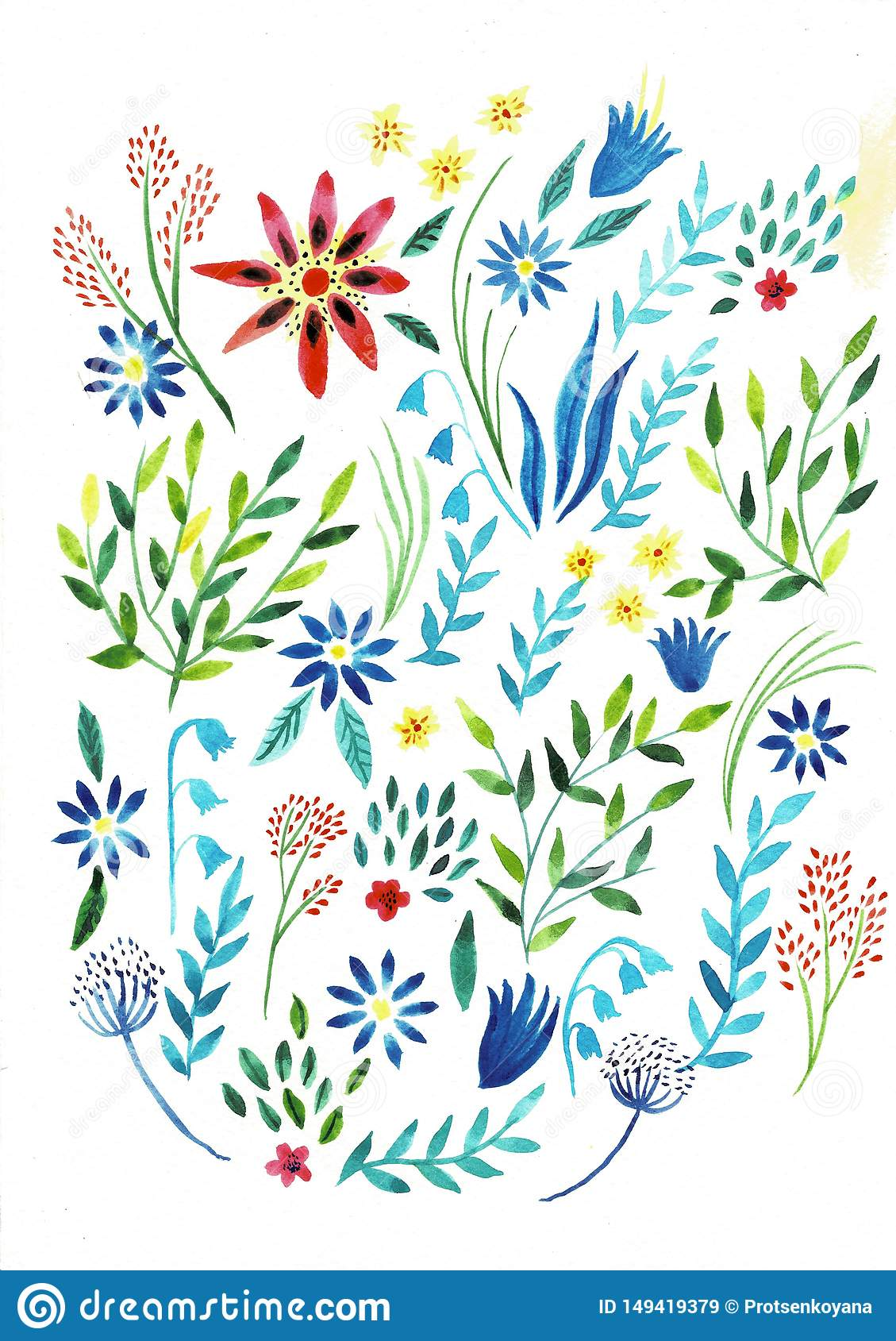Large set watercolor illustration. Botanical collection of wild and garden plants. Set: leaves, flowers, branches, herbs