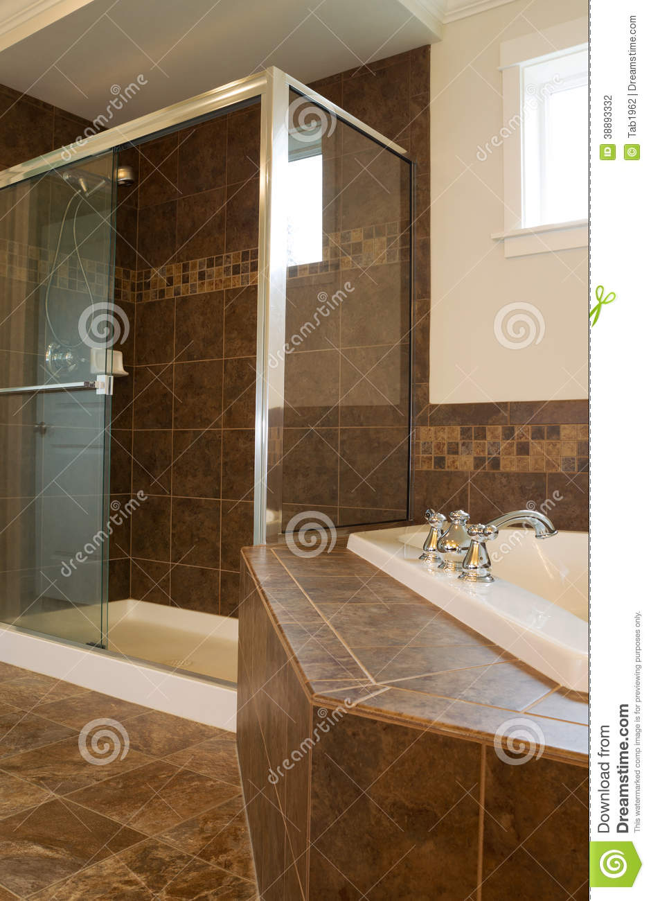 Master Bath With Large Glass Shower Stock Photo 13028952