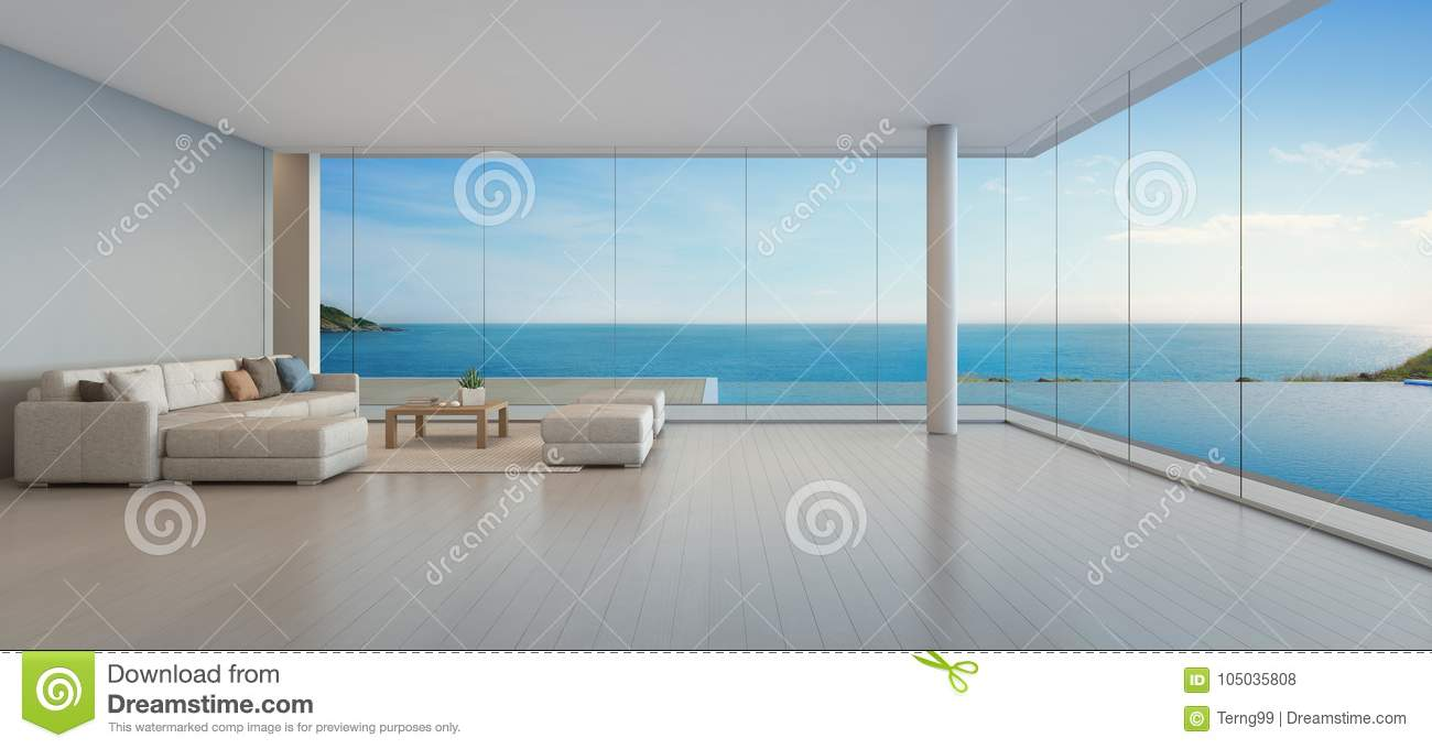 Large Sofa On Wooden Floor Near Glass Window And Swimming