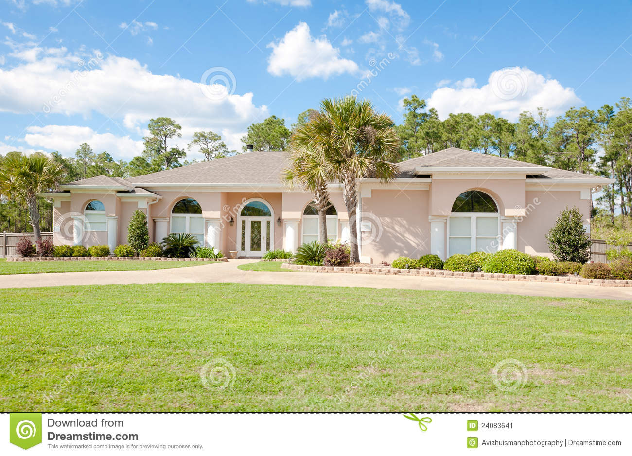 Large spanish style ranch home stock image image 24083641 for Large ranch style house plans