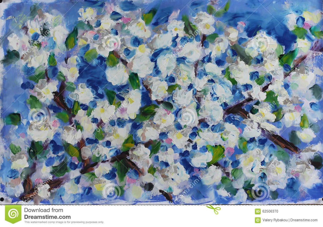 Large Spring White Flowers On The Branch Of A Tree Oil Painting