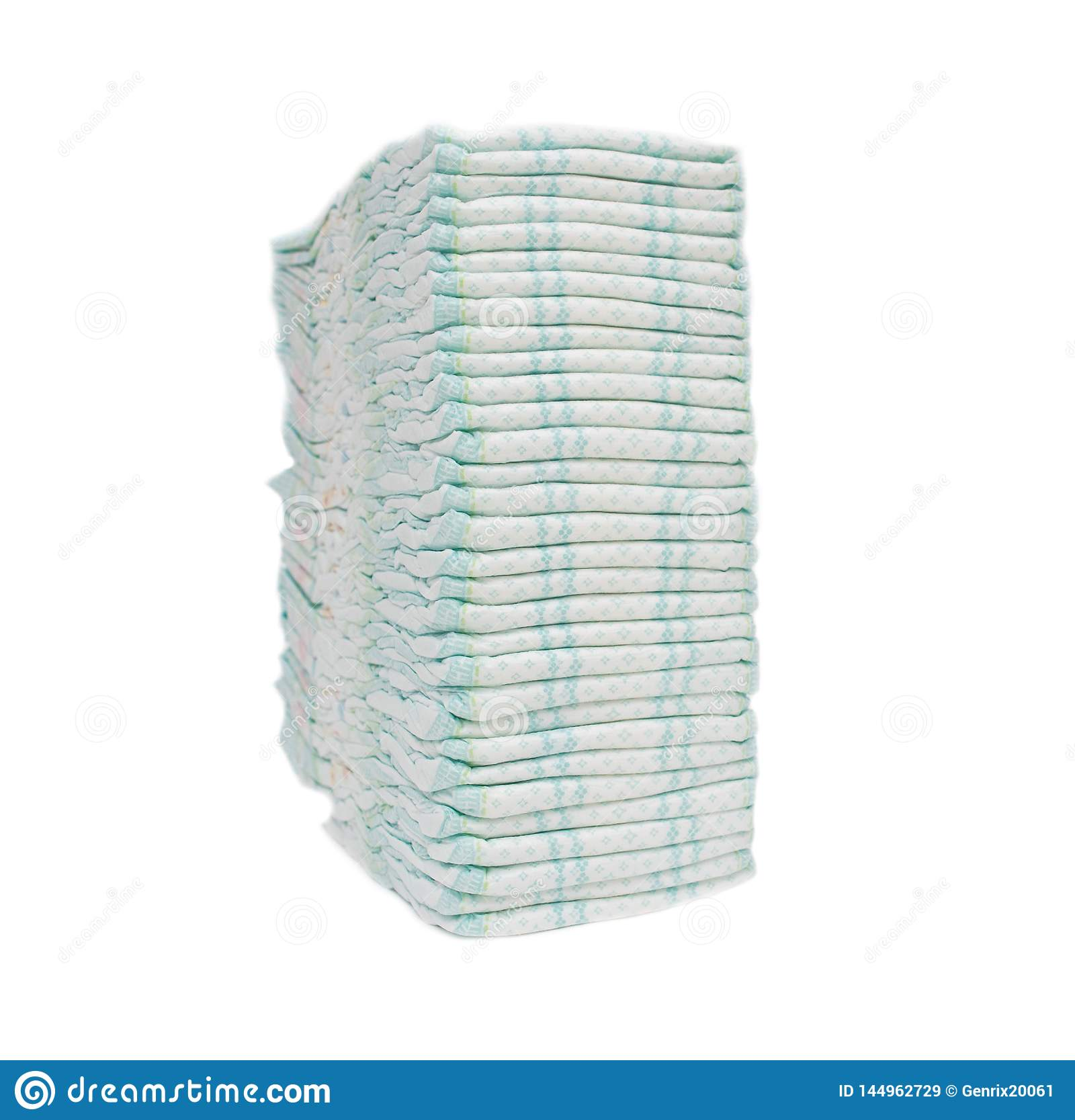 A large stack of baby hygienic diapers that protect against leakage, cleanliness and absorption, hypoallergenicity, isolate, white